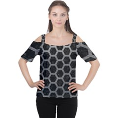 Hexagon2 Black Marble & Gray Leather Cutout Shoulder Tee