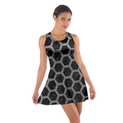 Hexagon2 Black Marble & Gray Leather Cotton Racerback Dress