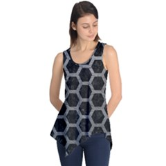 Hexagon2 Black Marble & Gray Leather Sleeveless Tunic