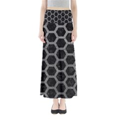 Hexagon2 Black Marble & Gray Leather Full Length Maxi Skirt