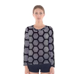Hexagon2 Black Marble & Gray Leather (r) Women s Long Sleeve Tee