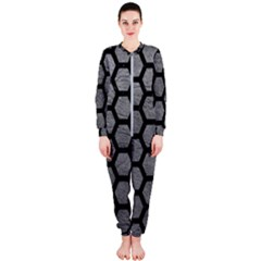 Hexagon2 Black Marble & Gray Leather (r) Onepiece Jumpsuit (ladies)