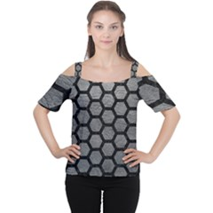 Hexagon2 Black Marble & Gray Leather (r) Cutout Shoulder Tee