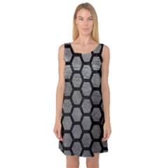 Hexagon2 Black Marble & Gray Leather (r) Sleeveless Satin Nightdress
