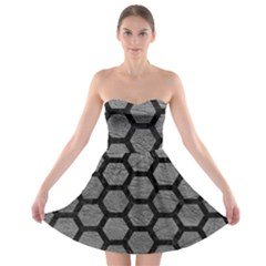Hexagon2 Black Marble & Gray Leather (r) Strapless Bra Top Dress