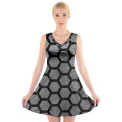 Hexagon2 Black Marble & Gray Leather (r) V Neck Sleeveless Skater Dress