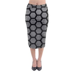 Hexagon2 Black Marble & Gray Leather (r) Midi Pencil Skirt