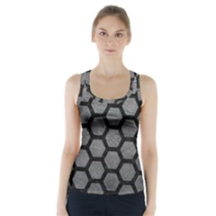 Hexagon2 Black Marble & Gray Leather (r) Racer Back Sports Top