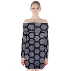 Hexagon2 Black Marble & Gray Leather (r) Long Sleeve Off Shoulder Dress