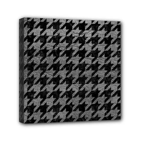 Houndstooth1 Black Marble & Gray Leather Mini Canvas 6  X 6