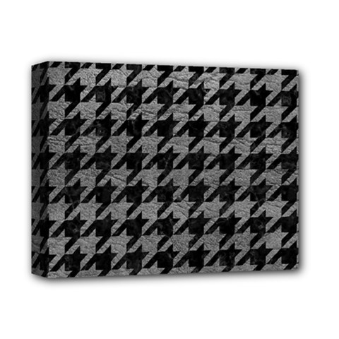 Houndstooth1 Black Marble & Gray Leather Deluxe Canvas 14  X 11