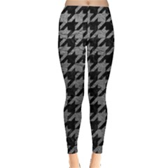 Houndstooth1 Black Marble & Gray Leather Leggings