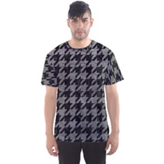Houndstooth1 Black Marble & Gray Leather Men s Sports Mesh Tee
