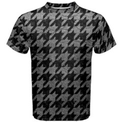 Houndstooth1 Black Marble & Gray Leather Men s Cotton Tee