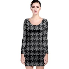 Houndstooth1 Black Marble & Gray Leather Long Sleeve Bodycon Dress