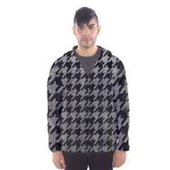 Houndstooth1 Black Marble & Gray Leather Hooded Wind Breaker (men)