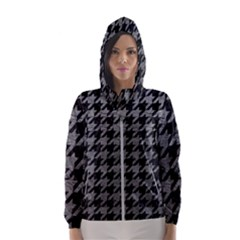Houndstooth1 Black Marble & Gray Leather Hooded Wind Breaker (women)