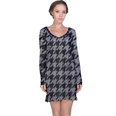 Houndstooth1 Black Marble & Gray Leather Long Sleeve Nightdress