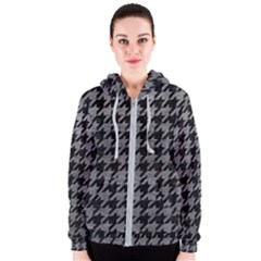 Houndstooth1 Black Marble & Gray Leather Women s Zipper Hoodie