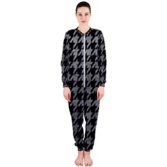 Houndstooth1 Black Marble & Gray Leather Onepiece Jumpsuit (ladies)