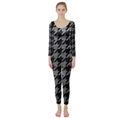 Houndstooth1 Black Marble & Gray Leather Long Sleeve Catsuit