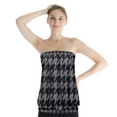 Houndstooth1 Black Marble & Gray Leather Strapless Top