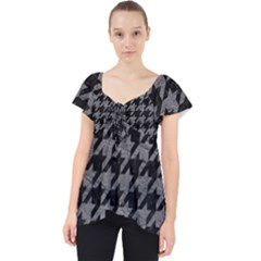 Houndstooth1 Black Marble & Gray Leather Lace Front Dolly Top