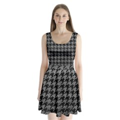 Houndstooth1 Black Marble & Gray Leather Split Back Mini Dress