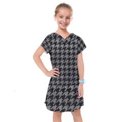 Houndstooth1 Black Marble & Gray Leather Kids  Drop Waist Dress