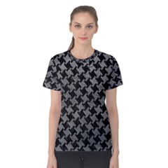 Houndstooth2 Black Marble & Gray Leather Women s Cotton Tee