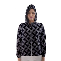Houndstooth2 Black Marble & Gray Leather Hooded Wind Breaker (women)