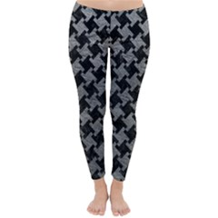 Houndstooth2 Black Marble & Gray Leather Classic Winter Leggings