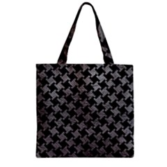 Houndstooth2 Black Marble & Gray Leather Zipper Grocery Tote Bag