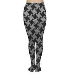 Houndstooth2 Black Marble & Gray Leather Women s Tights