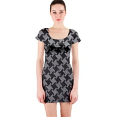 Houndstooth2 Black Marble & Gray Leather Short Sleeve Bodycon Dress