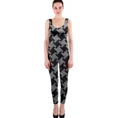 Houndstooth2 Black Marble & Gray Leather Onepiece Catsuit