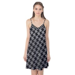 Houndstooth2 Black Marble & Gray Leather Camis Nightgown