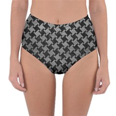 Houndstooth2 Black Marble & Gray Leather Reversible High Waist Bikini Bottoms