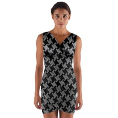 Houndstooth2 Black Marble & Gray Leather Wrap Front Bodycon Dress