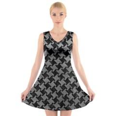 Houndstooth2 Black Marble & Gray Leather V Neck Sleeveless Skater Dress