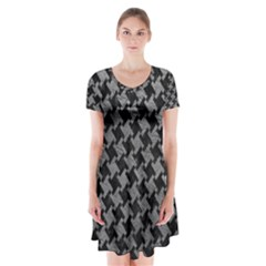 Houndstooth2 Black Marble & Gray Leather Short Sleeve V Neck Flare Dress