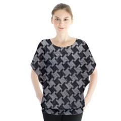Houndstooth2 Black Marble & Gray Leather Blouse