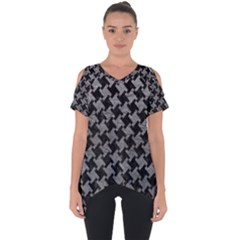 Houndstooth2 Black Marble & Gray Leather Cut Out Side Drop Tee