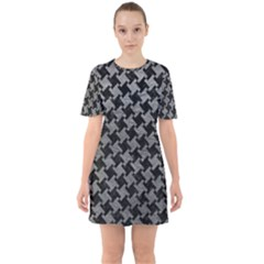 Houndstooth2 Black Marble & Gray Leather Sixties Short Sleeve Mini Dress