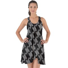 Houndstooth2 Black Marble & Gray Leather Show Some Back Chiffon Dress