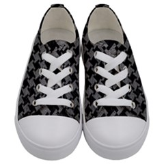 Houndstooth2 Black Marble & Gray Leather Kids  Low Top Canvas Sneakers