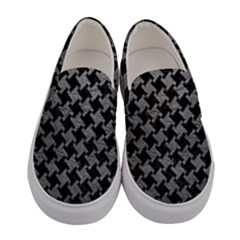 Houndstooth2 Black Marble & Gray Leather Women s Canvas Slip Ons