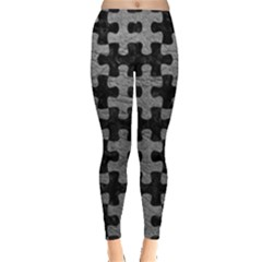 Puzzle1 Black Marble & Gray Leather Leggings