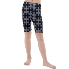 Puzzle1 Black Marble & Gray Leather Kids  Mid Length Swim Shorts
