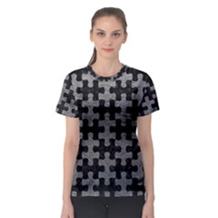 Puzzle1 Black Marble & Gray Leather Women s Sport Mesh Tee